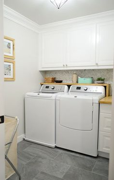 great laundry room floor, shelf, cabinetry.. love it all!