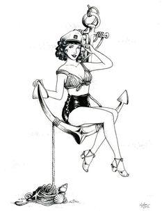 anchor girl on anchor | drawing # anchor # nautical # pinup