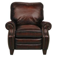Easy to recline and super comfortable, the Barcalounger Briarwood II Leather Recliner with Nailheads will quickly become the favorite seat in your. Leather Recliner Chair, Leather Sofas, Leather Chairs, Barcalounger, Metal Dining Chairs, Tuscan Decorating, Cushion Filling, Wood Trim, Foam Cushions
