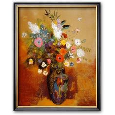 Art.com Bouquet of Flowers Framed Art Print by Odilon Redon ($87) ❤ liked on Polyvore featuring home, home decor, wall art, multicolor, framed floral wall art, vertical wall art, flower stem, flower home decor and colorful wall art