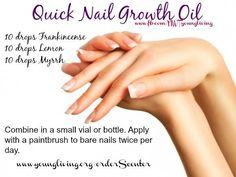 Nail growth. Alternative: Add almond oil, peppermint oil, vitamin E oil, coconut oil. Didnt add lemon oil to herome oil. Done!