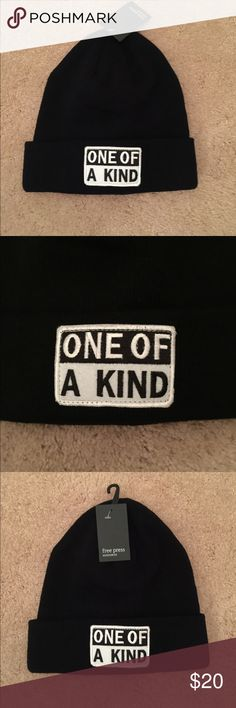 One of a Kind knit hat One of a Kind  graphic knit beanie.  Black. NWT never been worn. Super soft and cozy free press Accessories Hats
