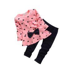 Babykleidung, Honestyi Heart-Shaped Print Bow Cute Kids Set T-Shirt + Hosen Baby-Sets (Rosa, Baby Kostüm, Baby Set, Baby Newborn, Kids Outfits Girls, Toddler Girl Outfits, Kids Girls, Toddler Girls, Infant Toddler, Newborn Outfits