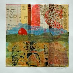 Collage 5, landscape over old papers, 12x12