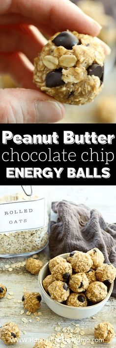 So good and so easy! My whole family loves this healthy energy. ball recipe made with peanut butter, oatmeal, and chocolate chips! Gluten free, dairy free, and naturally sweetened! Clean Dinner Recipes, Clean Eating Dinner, Easy Snacks, Healthy Snacks, Healthy Eating, Gluten Free Recipes, Easy Recipes, Healthy Recipes, Light Recipes