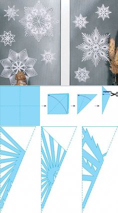 Learn how to make snowflakes from paper – diy paper & origami Snowflake Origami, Paper Snowflake Patterns, Snowflake Template, Paper Snowflakes, Christmas Snowflakes, Christmas Crafts, Christmas Decorations, Origami Paper, Diy Paper