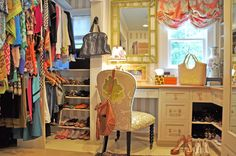 Interior designer Mayme Baker's colorful and feminine closet, as shown in House of Fifty magazine #closet #dressing_room