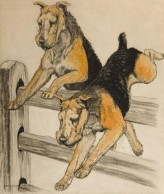 Charles Livingston Bull, Airedales Jumping Fence