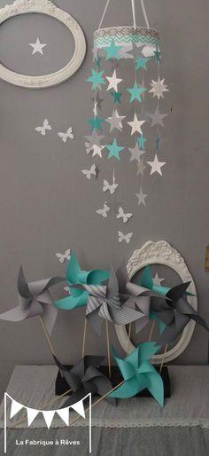 mobile étoiles turquoise blanc gris décoration chambre enfant bébé garçon fille…