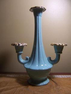 Vintage Candelabra  candleholder Maddux of California 1959 Sea Foam Green with Gold by mimishomefashions, $22.95
