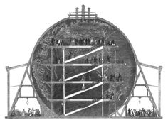 Wyld's Great Globe was an attraction situated in London's Leicester Square between 1851 and 1862, constructed by James Wyld (1812–1887)  At the centre of a purpose-built hall was a giant globe, 60 feet 4 inches (18.39 m) in diameter. The globe was hollow and contained a staircase and elevated platforms which members of the public could climb in order to view the surface of the earth.