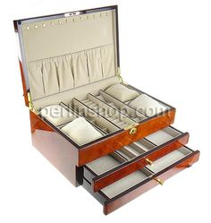 Kosmetikkasten, Holz, mit Baumwollsamt & Zinklegierung, Rechteck, goldfarben plattiert, braun, frei von Nickel, Blei & Kadmium