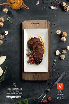 Dinner Plates Resemble Mobile Devices In These Well-Crafted Ads By Aval Pay App food poster Food Graphic Design, Food Poster Design, Menu Design, Food Design, Banner Design, Design Web, Steak Pasta, Food Advertising, Creative Advertising