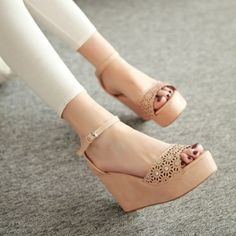 Fashion Wedge High Heel Ankle Strap Apricot PU Sandals