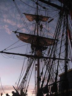 Going aloft at sunset on Lady Washington. http://historicalseaport.org #sailing #travel #ships