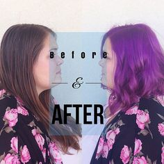 Love this before & after - the end result a fun purple grape long bob #hairbyhal