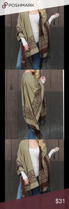 "Ruana Poncho Fringe Blanket Reversible Boho Throw this on and go this fall-winter season. Great for games, campfires, concerts, and festivals. Blanket style poncho-ruana measures approximately 61"" x 55"".  Reversible for 2 different looks. 100% acrylic. See other colors in our store. Flying Daisy Jackets & Coats Capes"