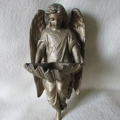 c1900 Antique Angel Holy Water Font  Wall Pocket by Neatcurios