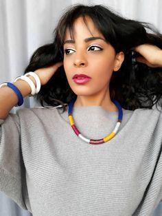 Collier bleu arc-en-ciel collier pour femme collier