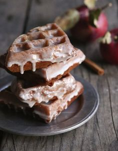Happy National Waffle Day! Celebrate with a big plate of Apple Fritter Waffle Doughnuts