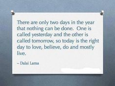 There are only two days in the year that nothing can be done. One is called yesterday and the other is called tomorrow, so today is the right day to love, believe, do and mostly live.