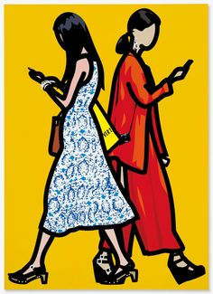 Julian Opie - Paisley dress and red gown Vinyl on wooden stretcher. Executed in x inches, x cm. Estimate: Sold Christie's, London, 26 June Art Postal, Mandala, Red Gowns, Paisley Dress, Global Art, Art Sketchbook, Animal Design, Art Market, Architecture Art