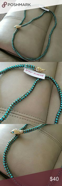 Betsey Johnson necklace NWT necklace This is a NWT Betsey Johnson Statement snake necklace from the Ocean Drive collection purchased from Belk I am selling pieces for the pieces I need this is a long snake necklace blue green color the head has a latch that will clasp on to any part of the snakes body Betsey Johnson Jewelry Necklaces