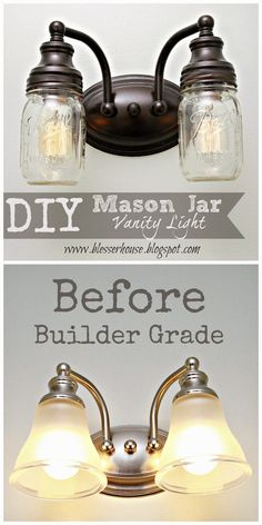 Hi y'all!  Despite having some technical difficulties this week (sometimes computers get saucy and put up a fight), I'm so excited to be sharing this project with you.  If you're not a Pin-a-holic, you may not know this, but mason jar projects have run rampant.  So this one is total white noise in the sea … Rustic House Decor, Cabin Bathroom Decor, Cabin Bathrooms, Country Farmhouse Decor, Small Rustic Bathrooms, Farmhouse Lighting, Vintage Bathrooms, Industrial Farmhouse Decor, Farmhouse Style