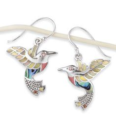 Pearl and Abalone Hummingbird Earrings | Nature's Jewelry