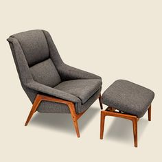 Wooden Dux Chair & Ottoman - Vintage - STAG Provisions - One & Done - Furniture Living Room Upholstery, Upholstery Cushions, Living Room Pillows, My Living Room, Living Room Chairs, Dining Rooms, Classic Furniture, Unique Furniture, Cheap Furniture