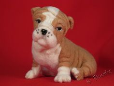 Custom Realistic Needle Felted Dog / Pet Portrait Sculpture. Breed English Bulldog (pup). $99.00, via Etsy.
