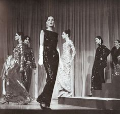 """Norman Norell 1967 Fashion """"Fall/Winter"""" Show by Norman Norell performed on Metropolitan Museum of Art. Models photographed by Bill Cunningham for Harper's Bazaar."""