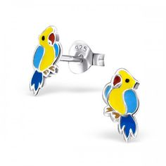 Sterling Silver parrot stud earrings by Girl Almighty. High quality earrings and jewellery for Girls. Pretty Sterling Silver stud earrings for pierced ears. Animal Earrings, Stud Earrings, College Discounts, Disney Sweaters, Shirt Refashion, Cheap Hoodies, Coupon Binder, Beautiful Gift Boxes, Sterling Silver Earrings Studs