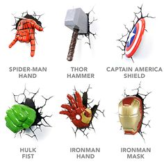 3D Deco Superhero Wall Lights