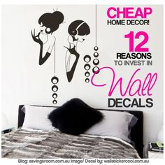 Cheap home decor! 12 reasons to invest in wall decals Affordable Home Decor, Easy Home Decor, Home Decor Styles, Cheap Home Decor, Decorating On A Budget, Interior Decorating, Interior Design Tips, Wall Decals, Jazz