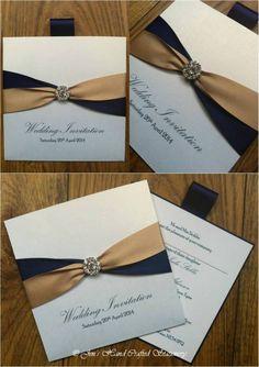 Navy and champagne Wallet Wedding Invitation  www.jenshandcraftedstationery.co.uk www.facebook.com/jenshandcraftedstationery