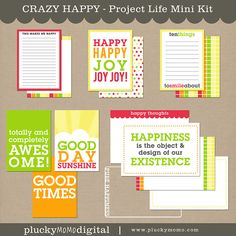 CRAZY HAPPY Journaling Cards for Scrapbooking or by pluckymomo, $5.50