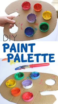 DIY Paint Palette- Upcycle cardboard to make this easy paint palette for preschool artists! A fun way for kids to get hands on with upcycling! Preschool Crafts, Kids Crafts, Arts And Crafts, Preschool Artist Theme, Preschool Classroom, Pallet Painting, Diy Painting, Projects For Kids, Diy For Kids