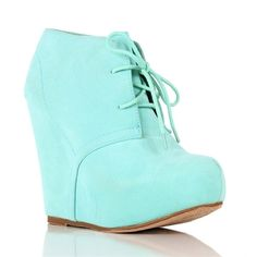 Mint Platform Booties ($33) ❤ liked on Polyvore