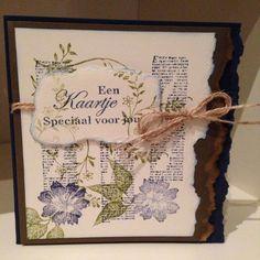 Kaart/card by Linda Huizing. Kaart gemaakt met stempels van Different Colors. De tak op de achtergrond is van Artemio. Van zo'n kaartje word je gewoon blij...