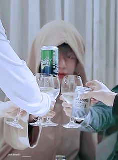 Lol Tae with the sprite can sitting in the glass