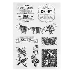 KiWarm One Sheet Lovely Birds Butterfly Flags Transparent Rubber Stamp For Scrapbooking Clear DIY Craft Gift Home Decoration #Affiliate