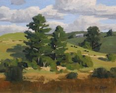 Original oil painting, painted outdoors en plein air by New Zealand landscape artist Samuel Earp. This painting features pine trees and rolling hills in the Northland region of New Zealand. Green Landscape, Landscape Art, Landscape Paintings, Landscapes, Painting Lessons, Artist Painting, Realism Artists, My Art Studio, Mountain Paintings