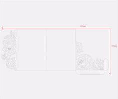 Tri-Fold peonías 5 x 7 boda invitación bolsillo sobre SVG