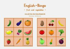 Englisch Bingo fruit and vegetables