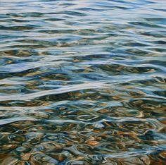 I love water and this close up of the surface of calm water has many properties, the transparency of the shallow water shows the distorted patterns of pebbles, the water surface reflects the light and shows just that hint of movement. Oil painting by Peter Goodhall
