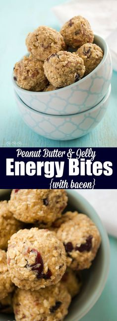 Peanut Butter and Jelly Energy Bites {with bacon}. Because bacon makes everything better! Based on Elvis's Fool's Gold Loaf: Peanut Butter and Jelly Energy Bites {with bacon}. Because bacon makes everything better! Based on Elvis's Fool's Gold Loaf Healthy Dessert Recipes, Healthy Treats, Breakfast Recipes, Snack Recipes, Free Recipes, Easy Recipes, Desserts, Icebox Cake Recipes, Paleo Cookies