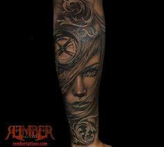 Rember, Dark Age Tattoo Studio - Black and Grey Realism Portrait
