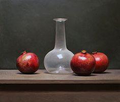 Stilleven met granaatappels en witte fles, 40x46cm, 2013.