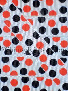 3 Yards 7/8 Halloween Black Orange Sugar Dots on White Grosgrain Ribbon Hair Bows Scrap Trick Treat booking Grosgrain Ribbon Sewing. $3.99, via Etsy.
